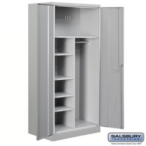 Heavy Duty Storage Cabinet - Combination - 78 Inches High - 24 Inches Deep - Gray - Assembled