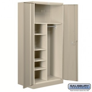 Heavy Duty Storage Cabinet - Combination - 78 Inches High - 24 Inches Deep - Tan - Unassembled