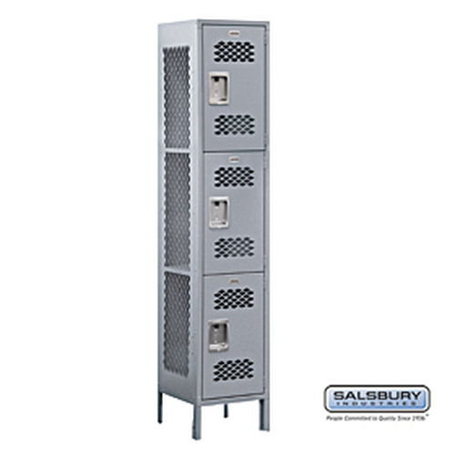 Extra Wide Vented Metal Locker - Triple Tier - 1 Wide - 6 Feet High - 15 Inches Deep - Gray - Unassembled