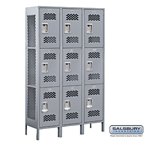 Extra Wide Vented Metal Locker - Triple Tier - 3 Wide - 6 Feet High - 15 Inches Deep - Gray - Unassembled