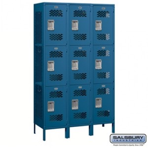 Extra Wide Vented Metal Locker - Triple Tier - 3 Wide - 6 Feet High - 18 Inches Deep - Blue - Assembled