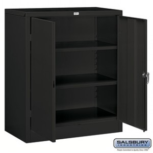 Storage Cabinet - Counter Height - 42 Inches High - 18 Inches Deep - Black - Assembled