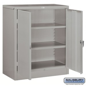 Storage Cabinet - Counter Height - 42 Inches High - 18 Inches Deep - Gray - Assembled