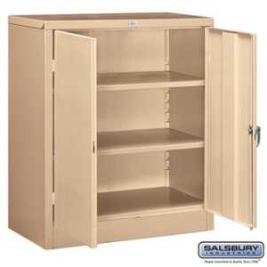 Storage Cabinet - Counter Height - 42 Inches High - 18 Inches Deep - Tan - Assembled