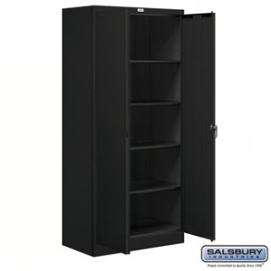 Storage Cabinet - Standard - 78 Inches High - 18 Inches Deep - Black - Assembled
