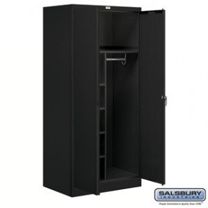 Storage Cabinet - Combination - 78 Inches High - 24 Inches Deep - Black - Assembled