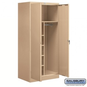 Storage Cabinet - Combination - 78 Inches High - 24 Inches Deep - Tan - Assembled