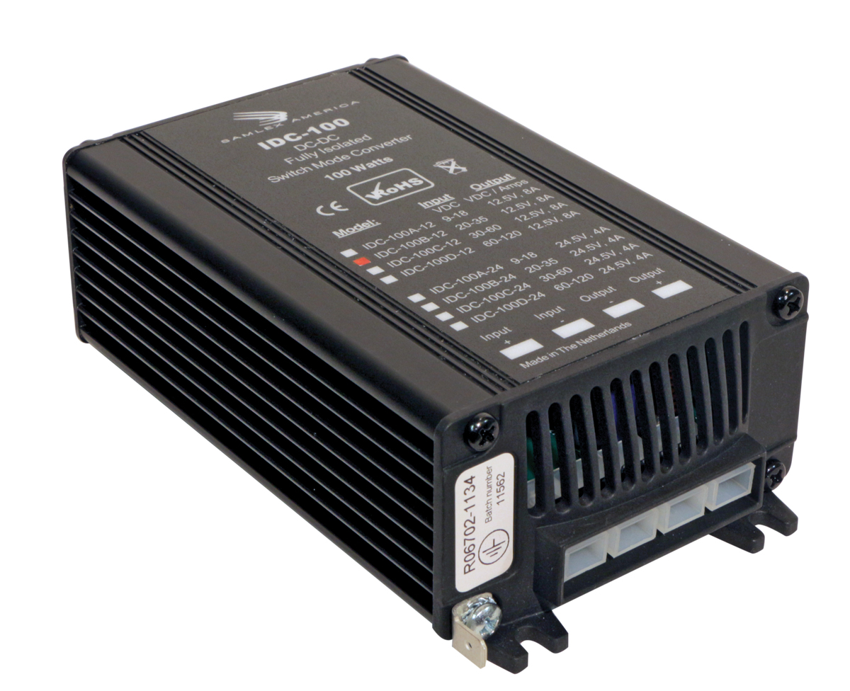 Switching DC-DC Converter.Input: 30-60 VDC, Output: 24 VDC, 4 Amps.RoHS Compliant