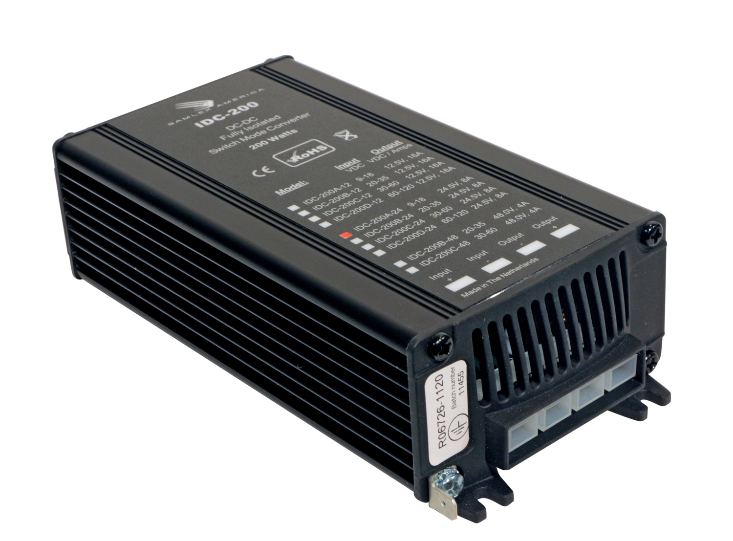 Switching DC-DC Converter.Input: 9-18 VDC, Output: 12 VDC, 16 Amps.RoHS Compliant