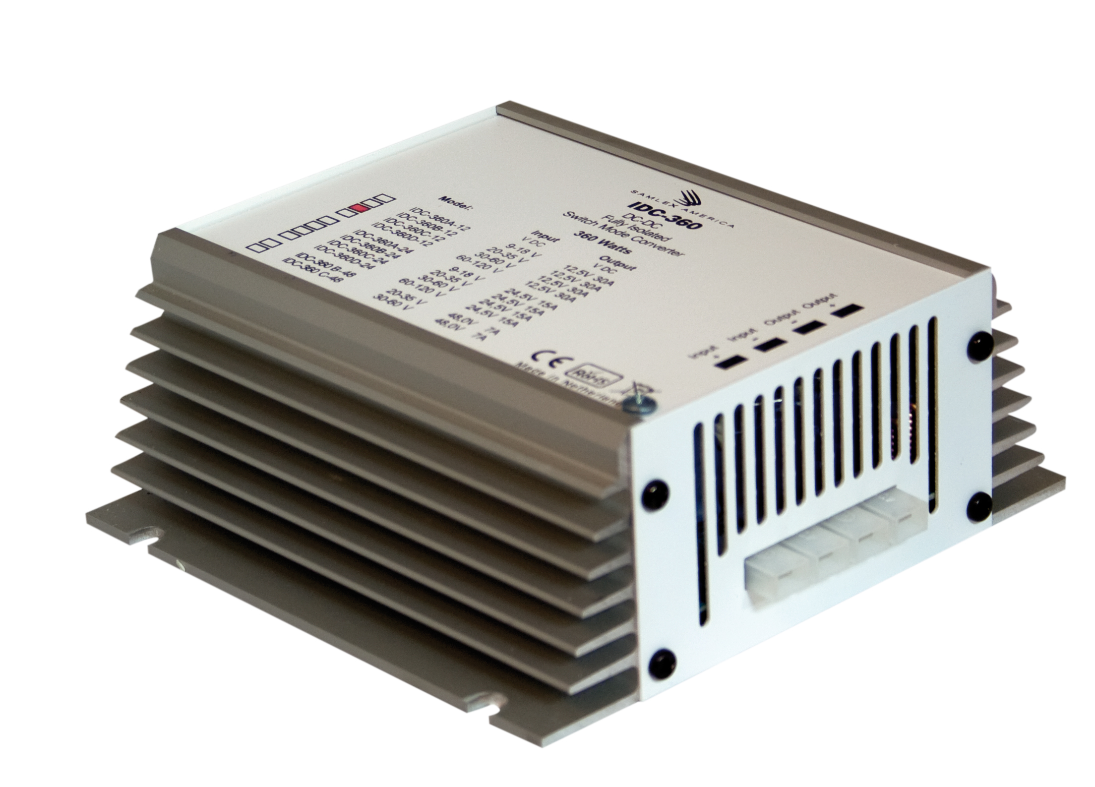Switching DC-DC Converter Input: 30-60 VDC, Output: 12 VDC, 30 Amps.RoHS Compliant