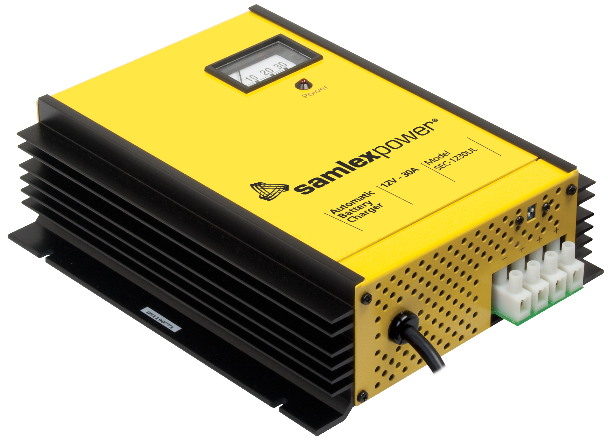 Battery Charger - 3 Stage.12 VDC, 30 Amp, c/w Dip Switch & Lugs.ETL Safety Listed