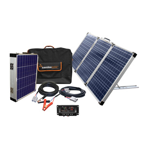 MSK135 135 WATT PORTABLE SOLAR CHARGING KIT WITH 3X45W SOLAR MODULES, 10 AMP CONTROLLER, 2 PIN BULLET ADAPTER & CARRY CASE