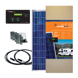 SAMLEX - 150 WATT SOLAR CHARGING KIT WITH 30 AMP CONTROLLER, FLAT SURFACE ALUMINUM MOUNTING BRACKETS, WIRING & HARDWARE