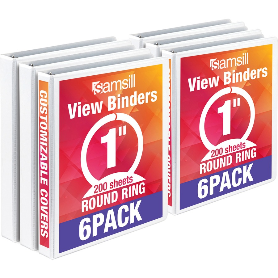 "Economy View Binder 1"" White 6 pack"