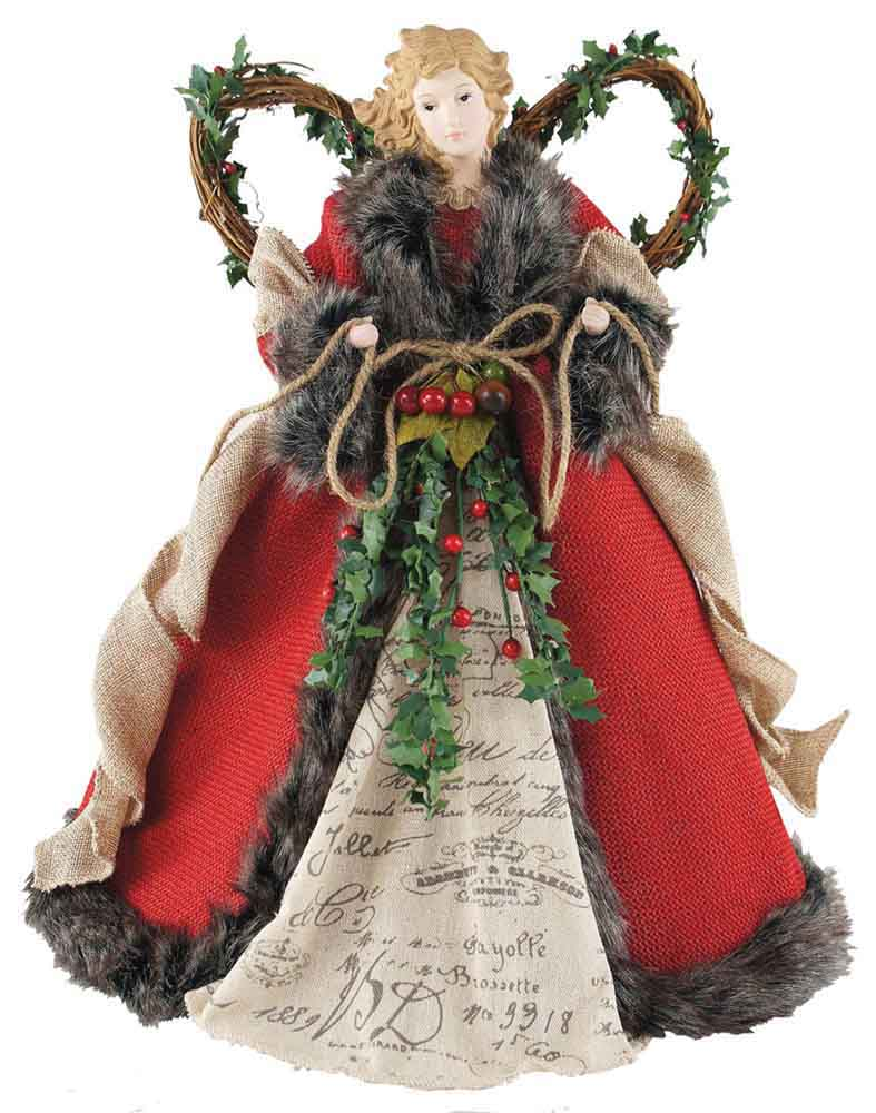 "16"" Red Homespun Angel Tree Topper"