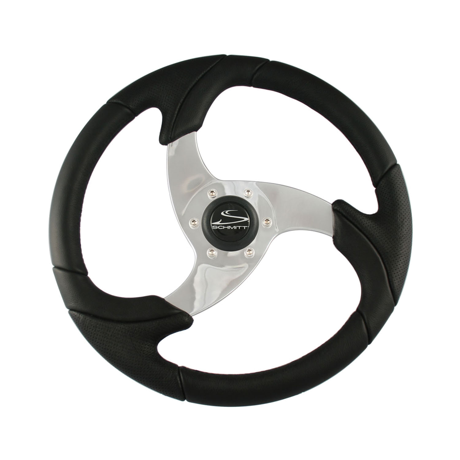 """Schmitt & Ongaro Marine Ongaro Folletto 14.2"""" Black Poly Steering Wheel w/ Polished Spokes and Black Cap - Fits 3/4"""" Tapered Sha"""