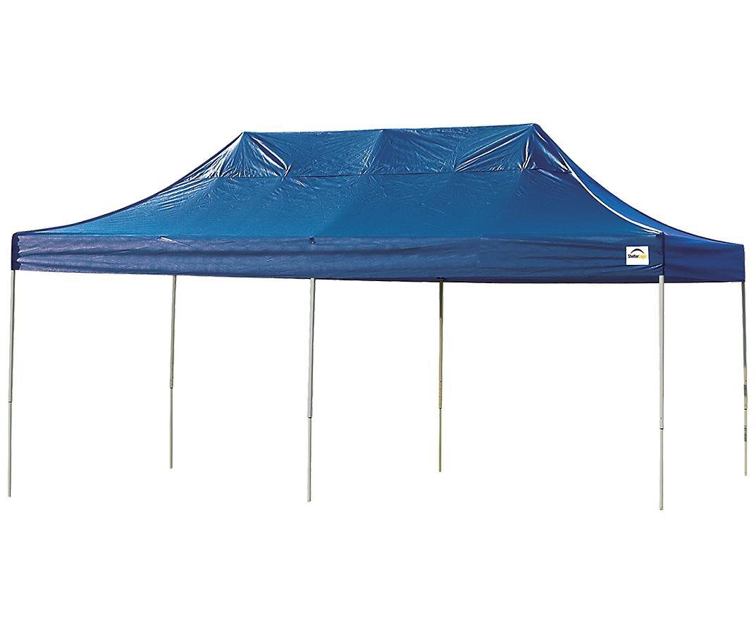 Straight Leg Popup Canopy, 10'x20', Blue Cover, Black Roller Bag