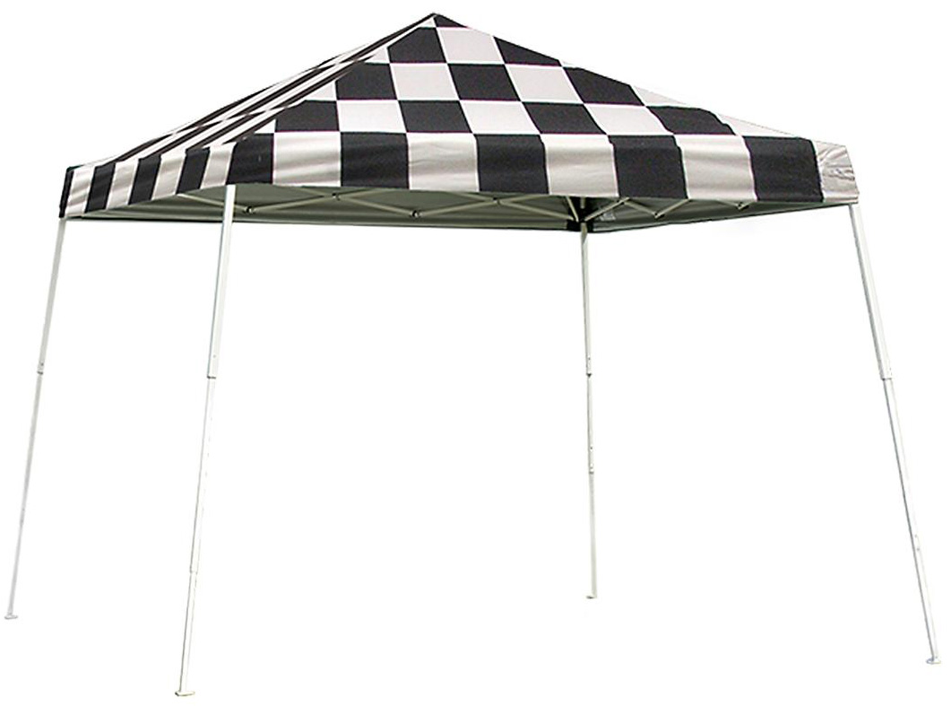 Slant Leg Popup Canopy, 12'x12', Checkered Flag Cover, Black Roller Bag