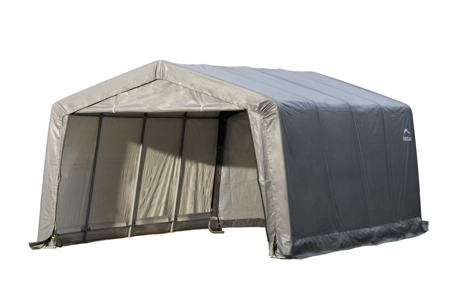 Garage-in-a-Box® Peak Style Shelter 12 x 16 x 8 ft., Grey