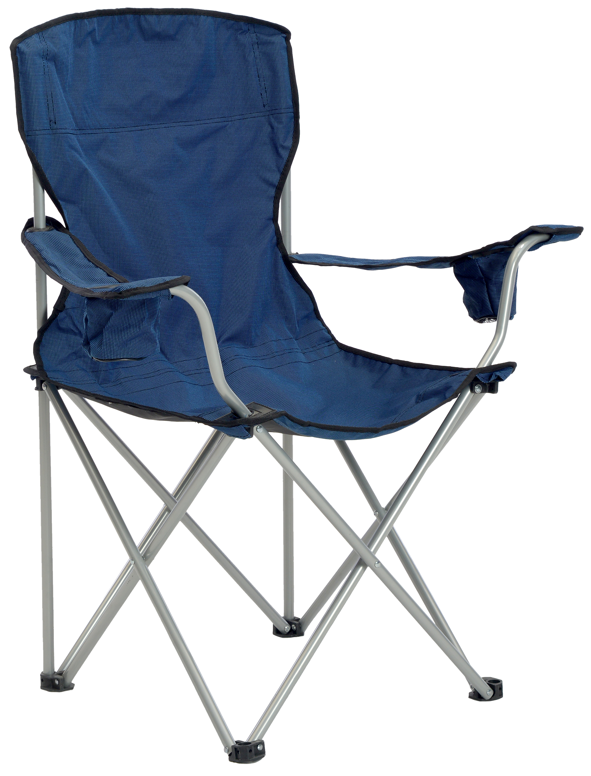 Deluxe Quad Chair, Navy/Black Fabric, Silver Frame