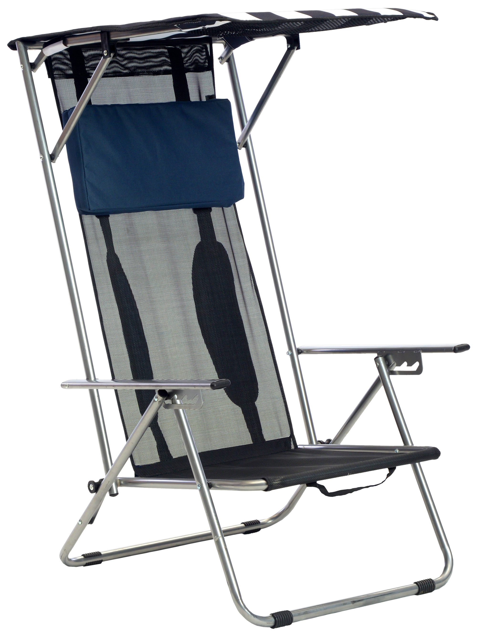 Beach Recliner Shade Chair, Navy and White Fabric, Silver Frame