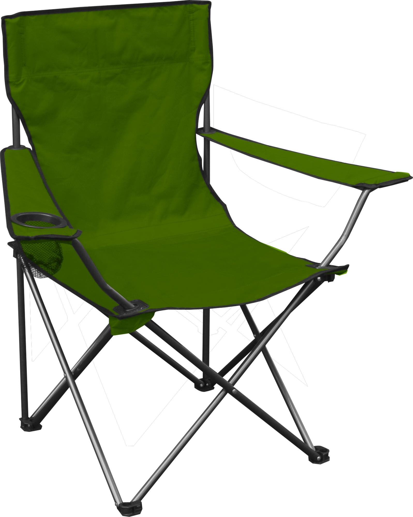 Quad Chair, Green Fabric, Silver Frame