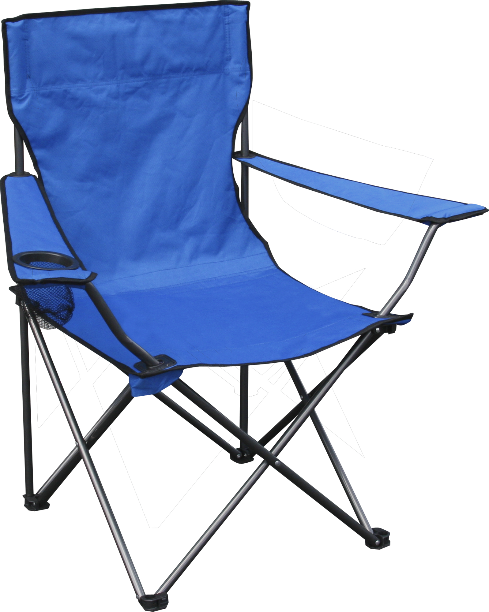 Quad Chair, Blue Fabric, Silver Frame