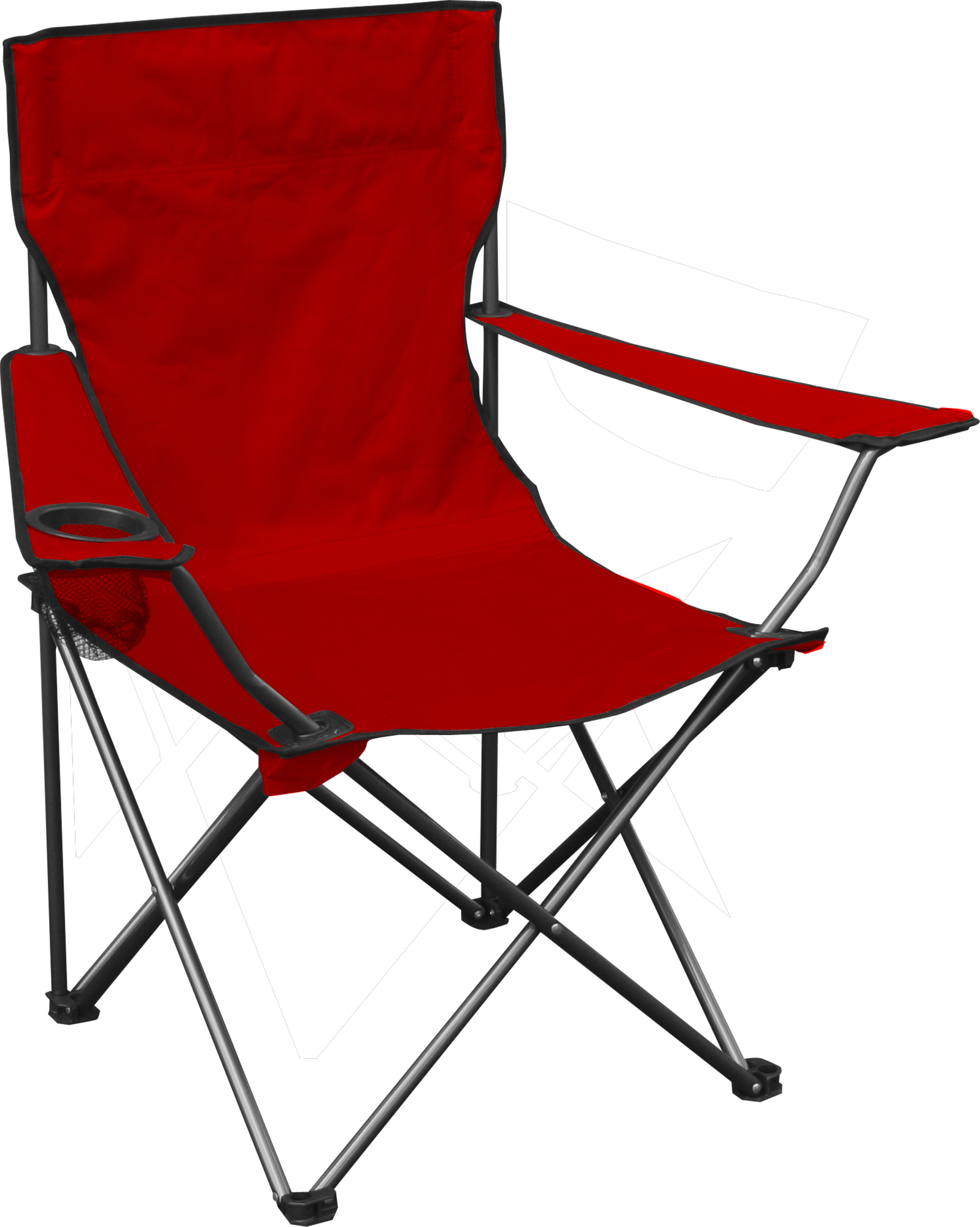 Quad Chair, Red Fabric, Silver Frame