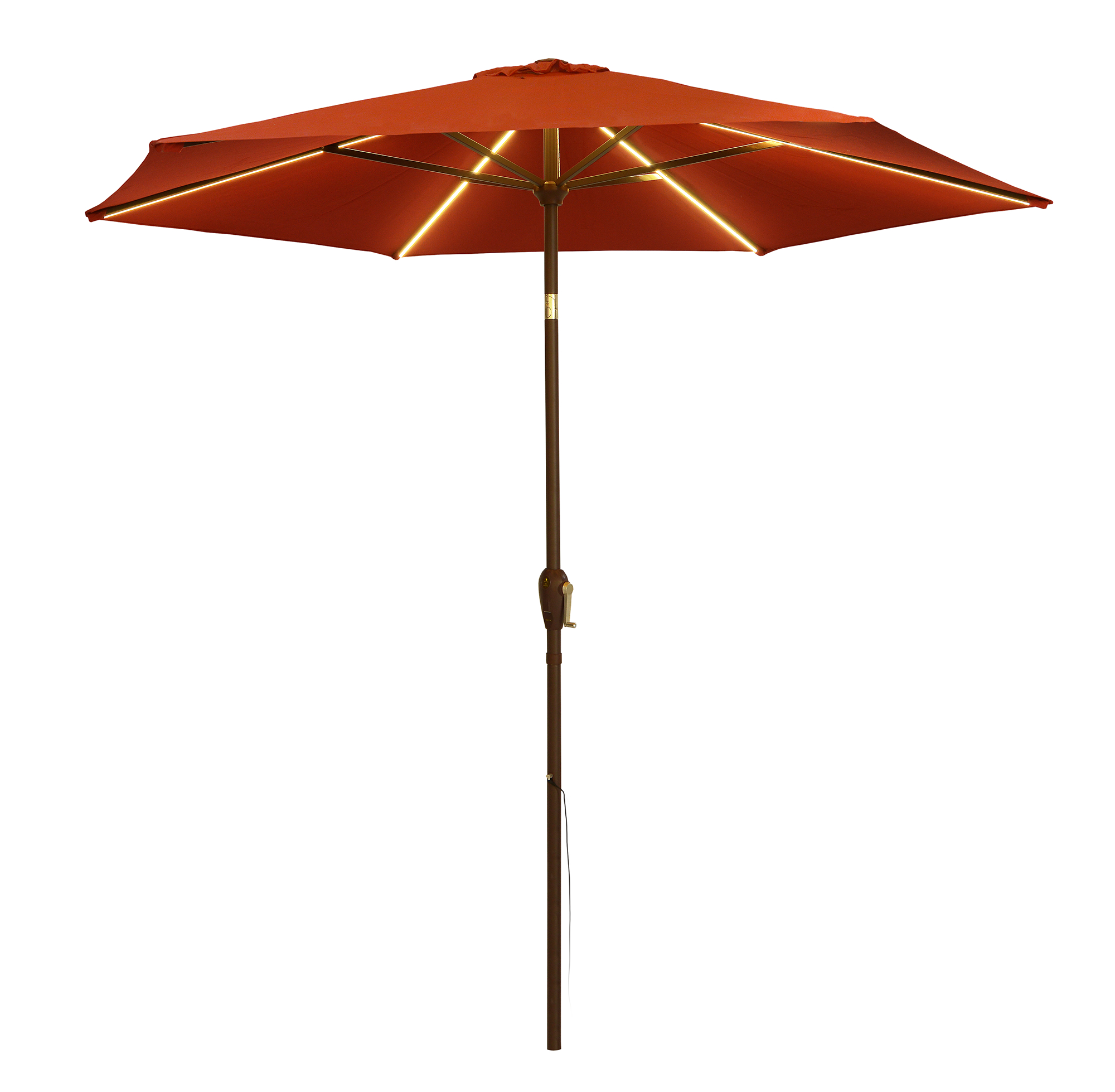 QS 9' UMBRELLA WARM WHITE, RED COVER