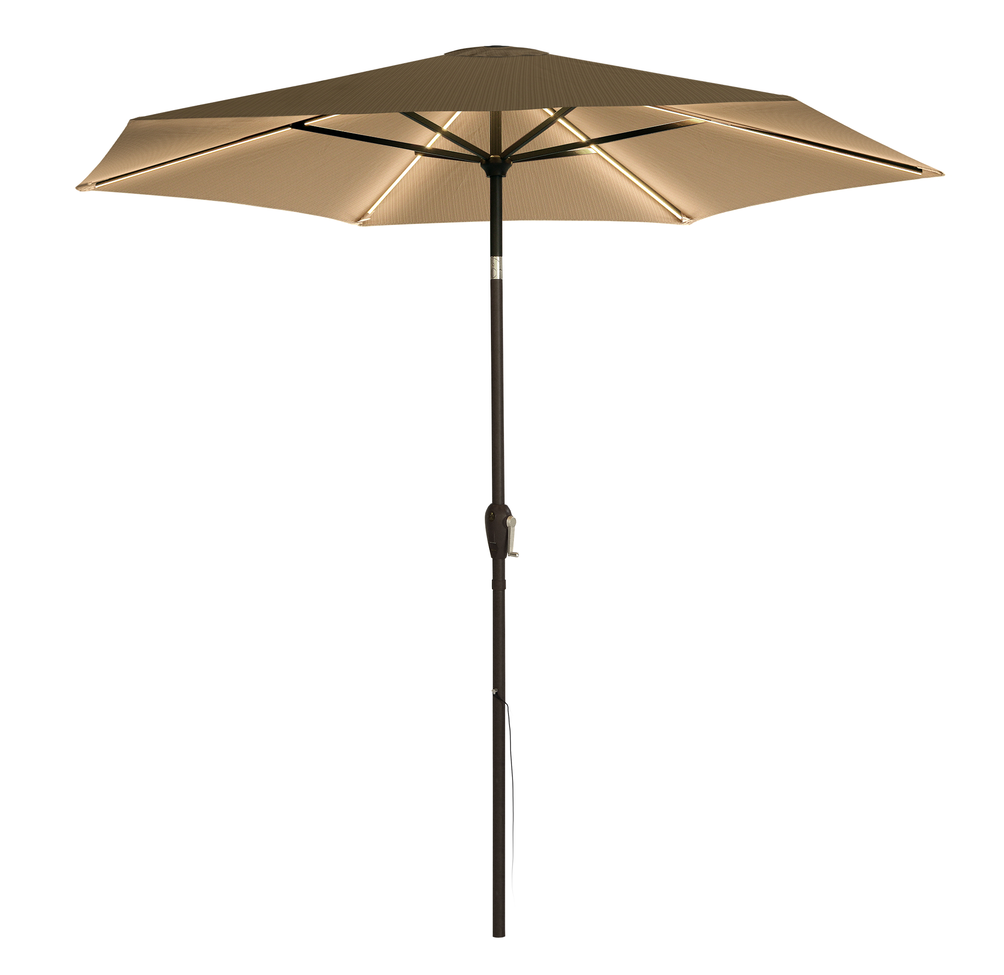 QS 9' UMBRELLA WARM WHITE, KHAKI COVER