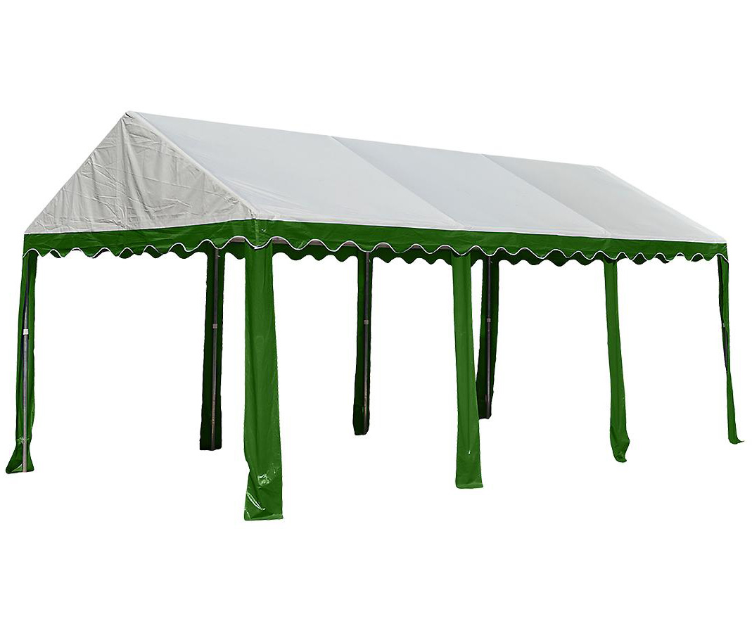 10'x20'/ 3x6m Party Tent, 8-Leg Galvanized Steel Frame, Green/White
