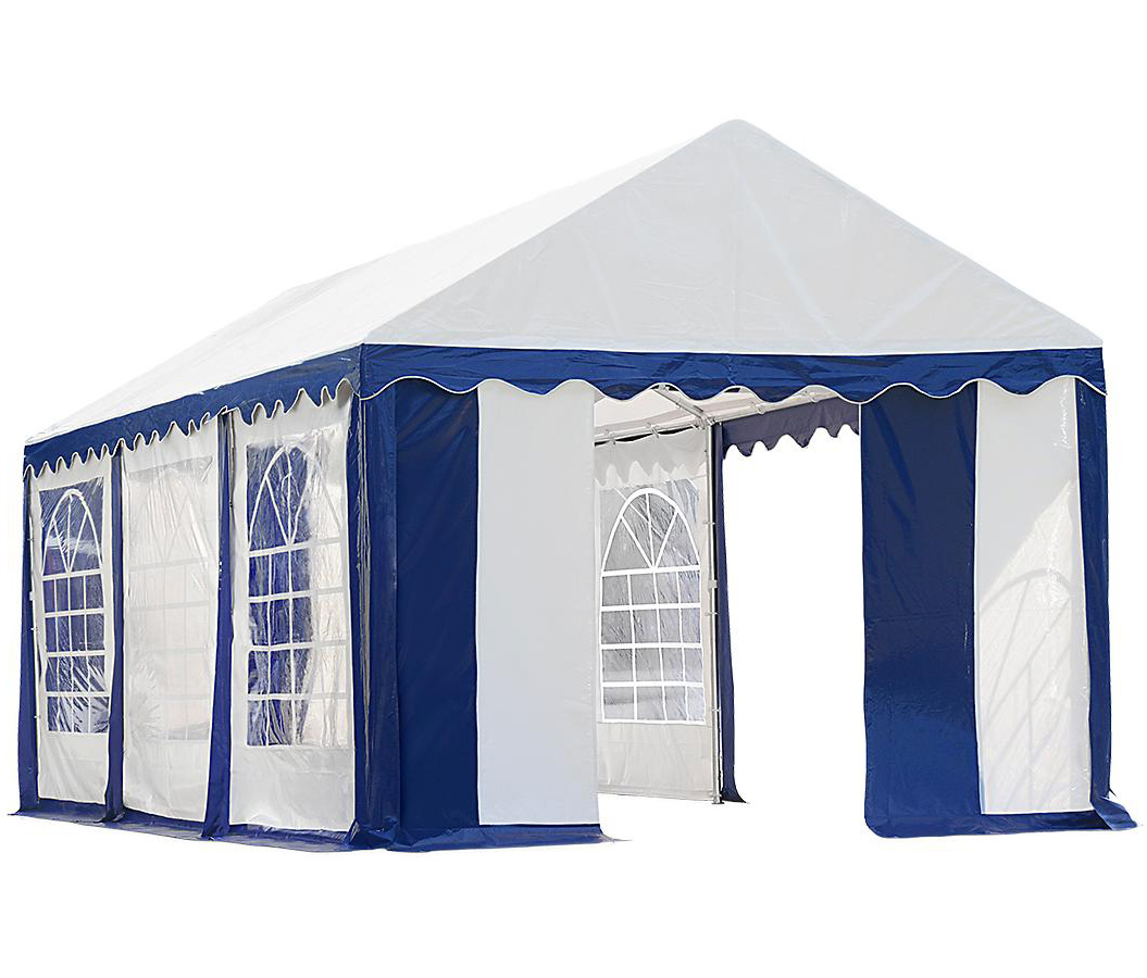 10'x20'/ 3x6m Party Tent, 8-Leg Galvanized Steel Frame, Blue/White with Enclosure Kit with Windows