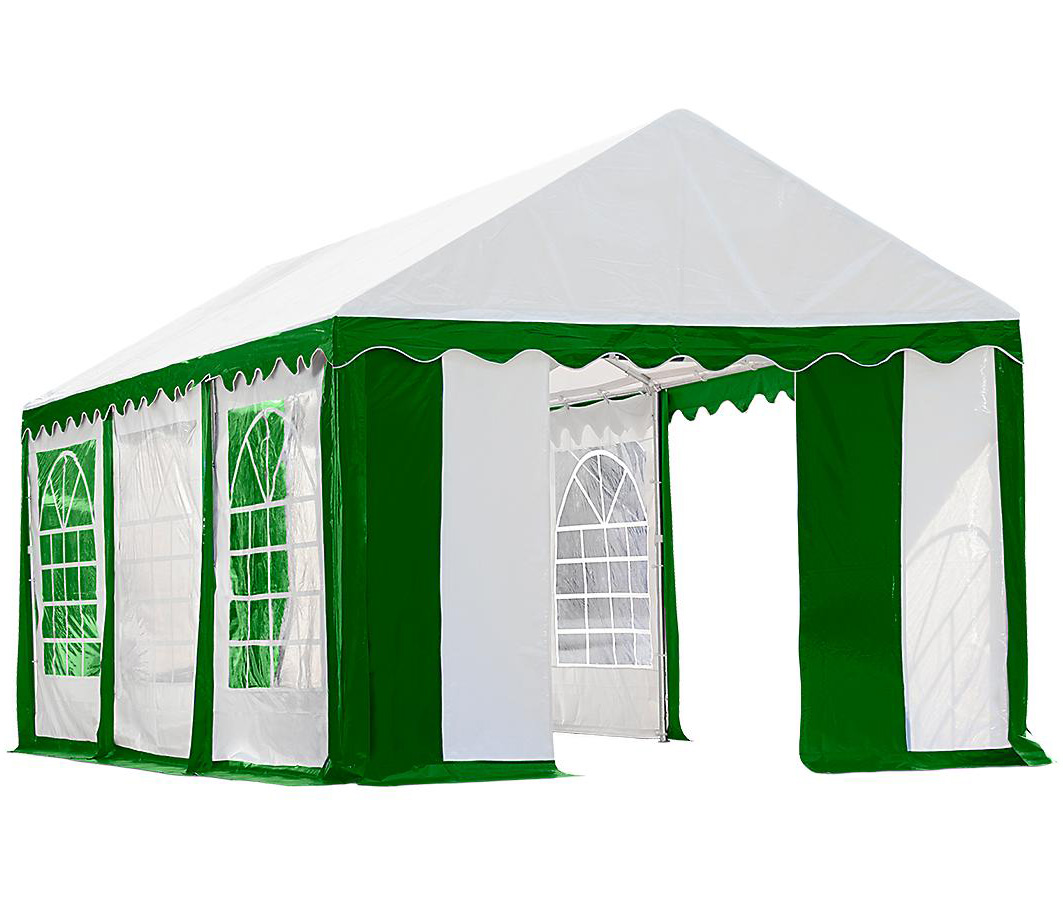 10'x20'/ 3x6m Party Tent, 8-Leg Galvanized Steel Frame, Green/White with Enclosure Kit with Windows