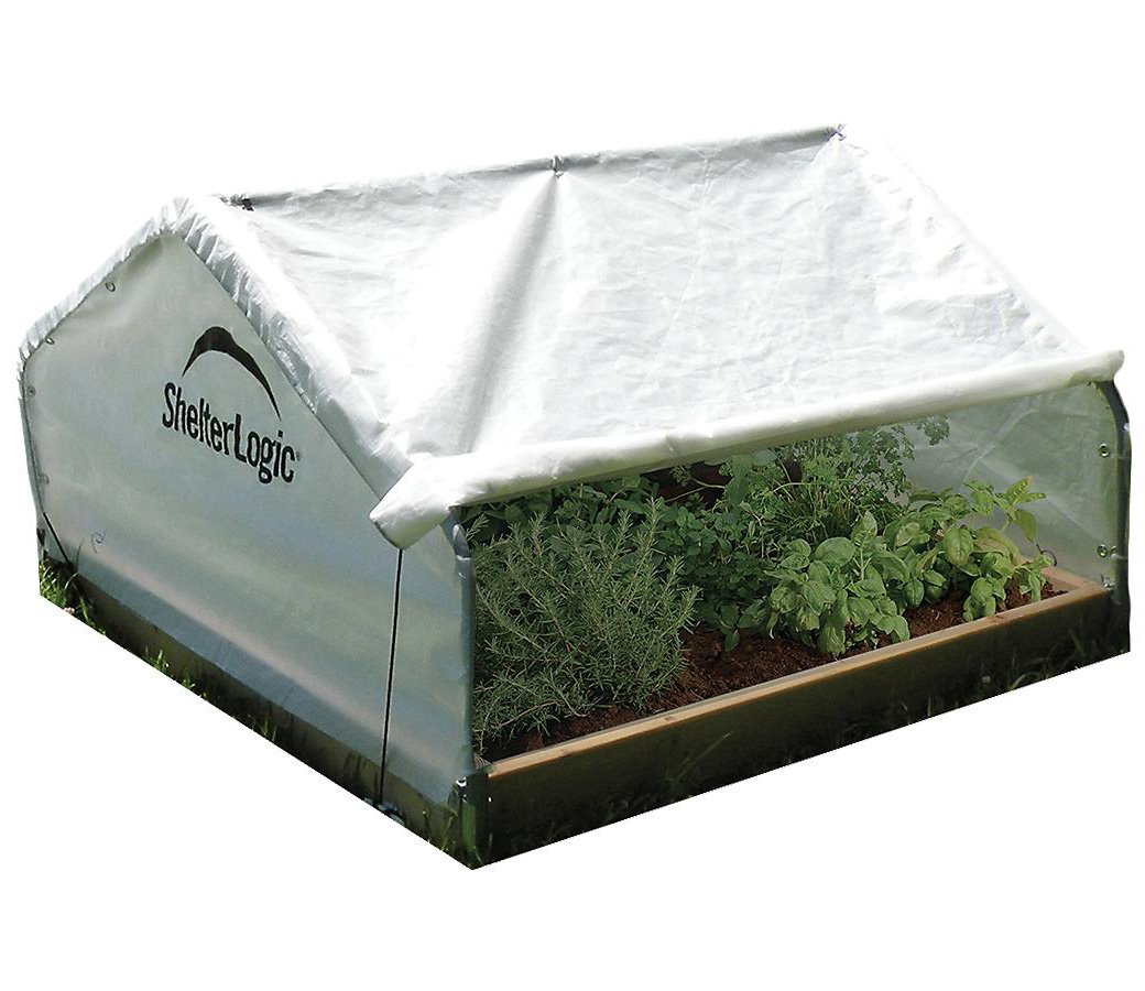 4x4x2'4'' Peak Raised Bed Greenhouse with Roll-Up Cover