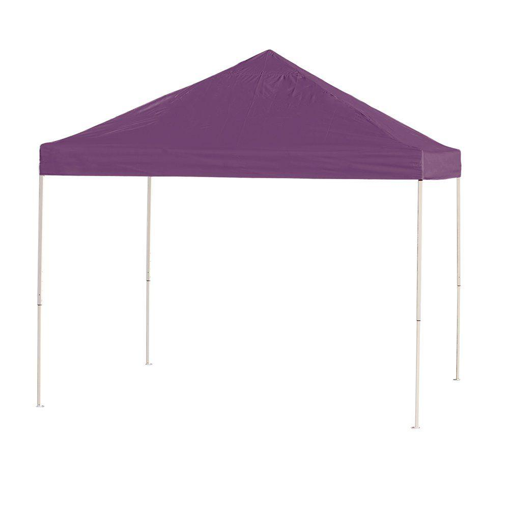 10x10 Straight Leg Pop-up Canopy, Purple Cover, Black Roller Bag