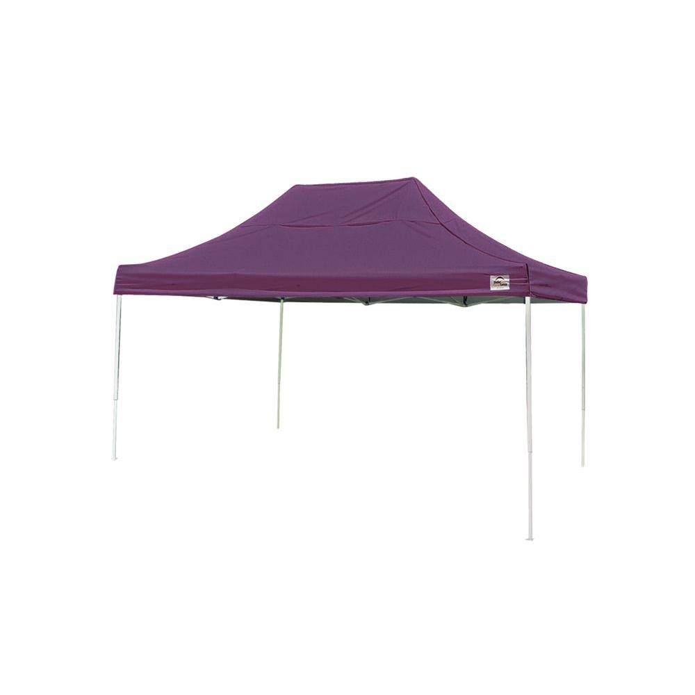 10x15 Straight Leg Pop-up Canopy, Purple Cover, Black Roller Bag