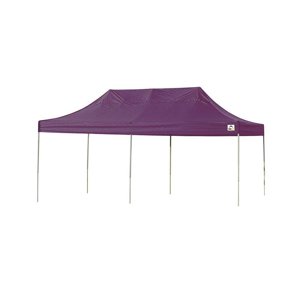 10x20 Straight Leg Pop-up Canopy, Purple Cover, Black Roller Bag