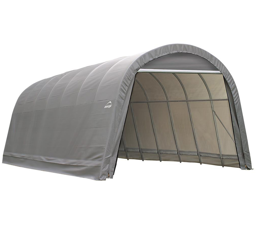 10x16x8 Round Style Shelter, Grey Cover
