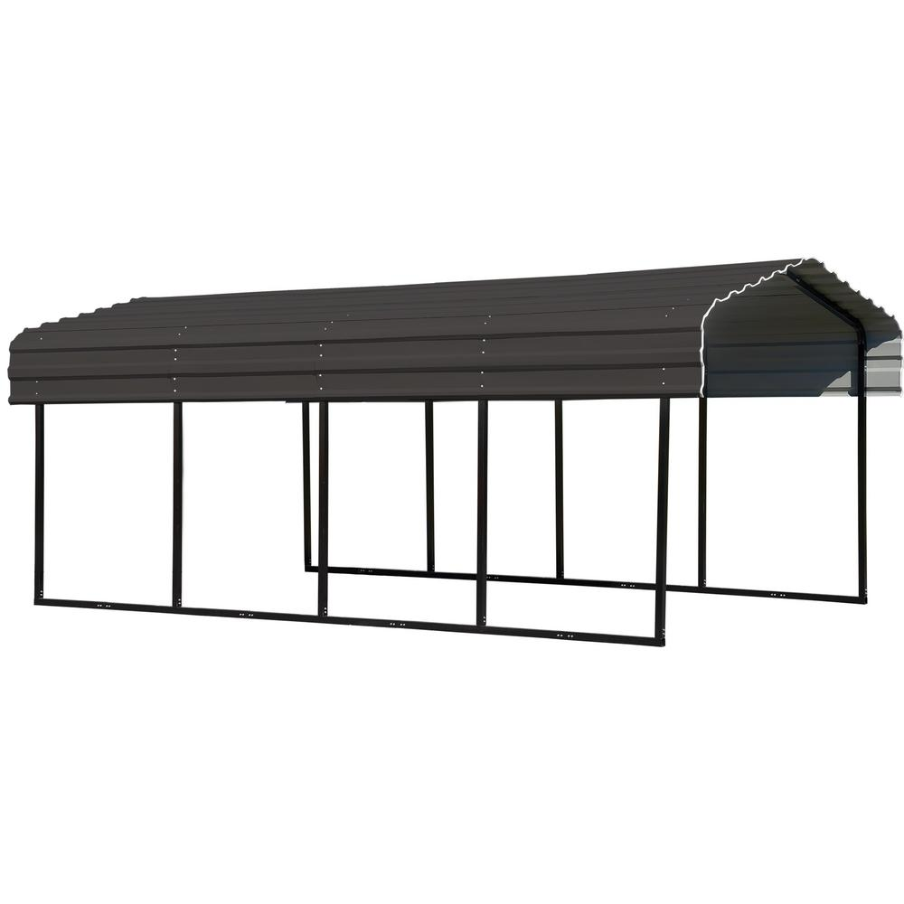 Steel Carport 10 x 20 x 7 ft. Galvanized Black/Charcoal