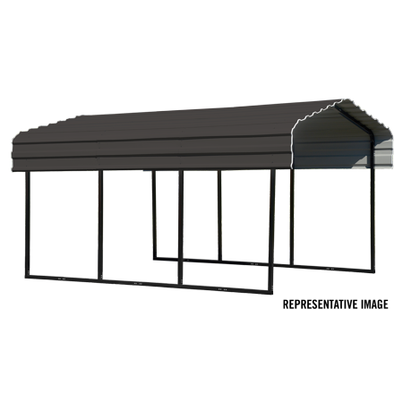 Steel Carport 10 x 29 x 7 ft. Galvanized Black/Charcoal