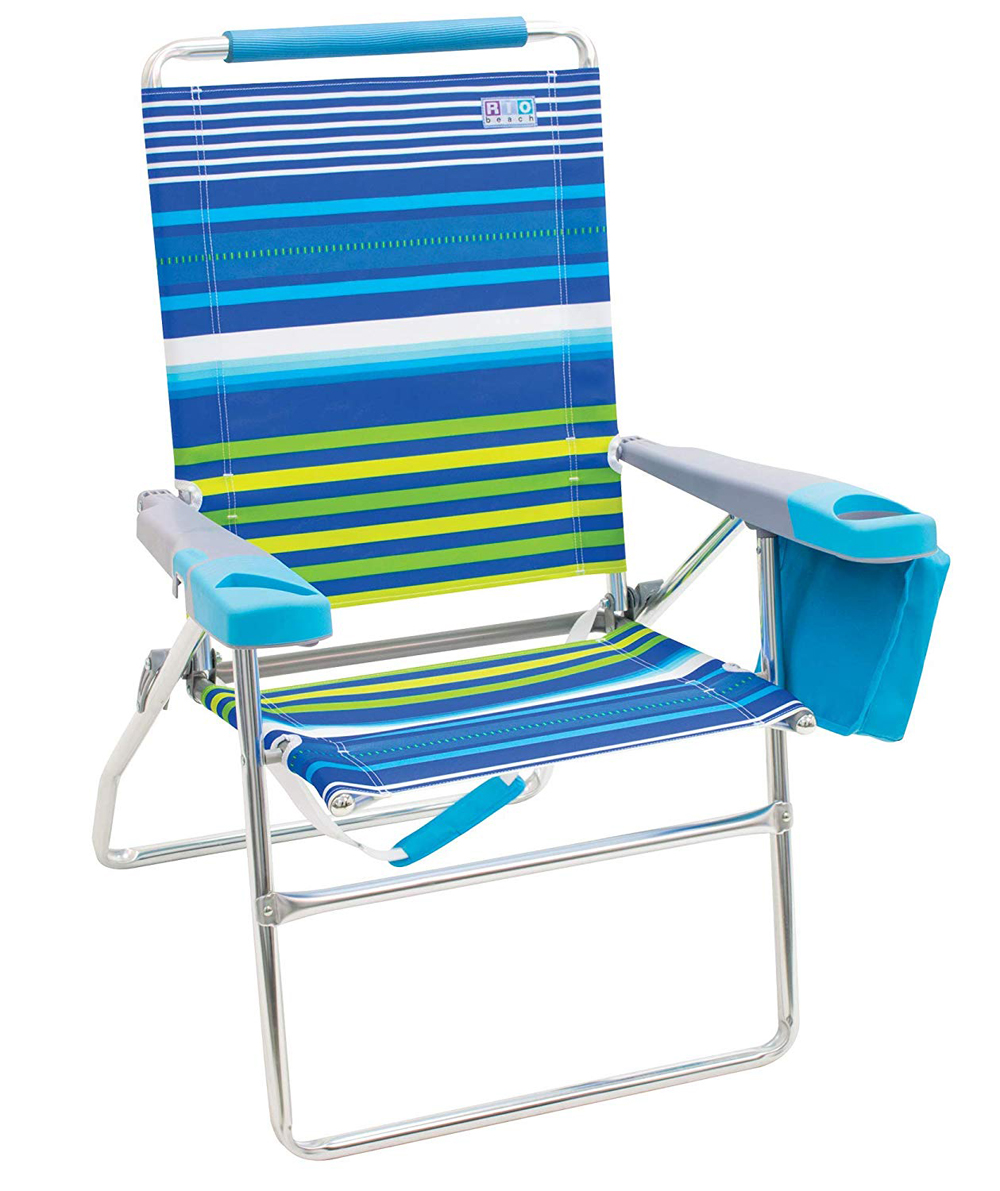 "17"" Beach Chair with new Molded arms & cooler STRIPE"