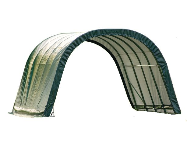 Round Style Run-In Shelter, 12'x20'x8', Green Cover