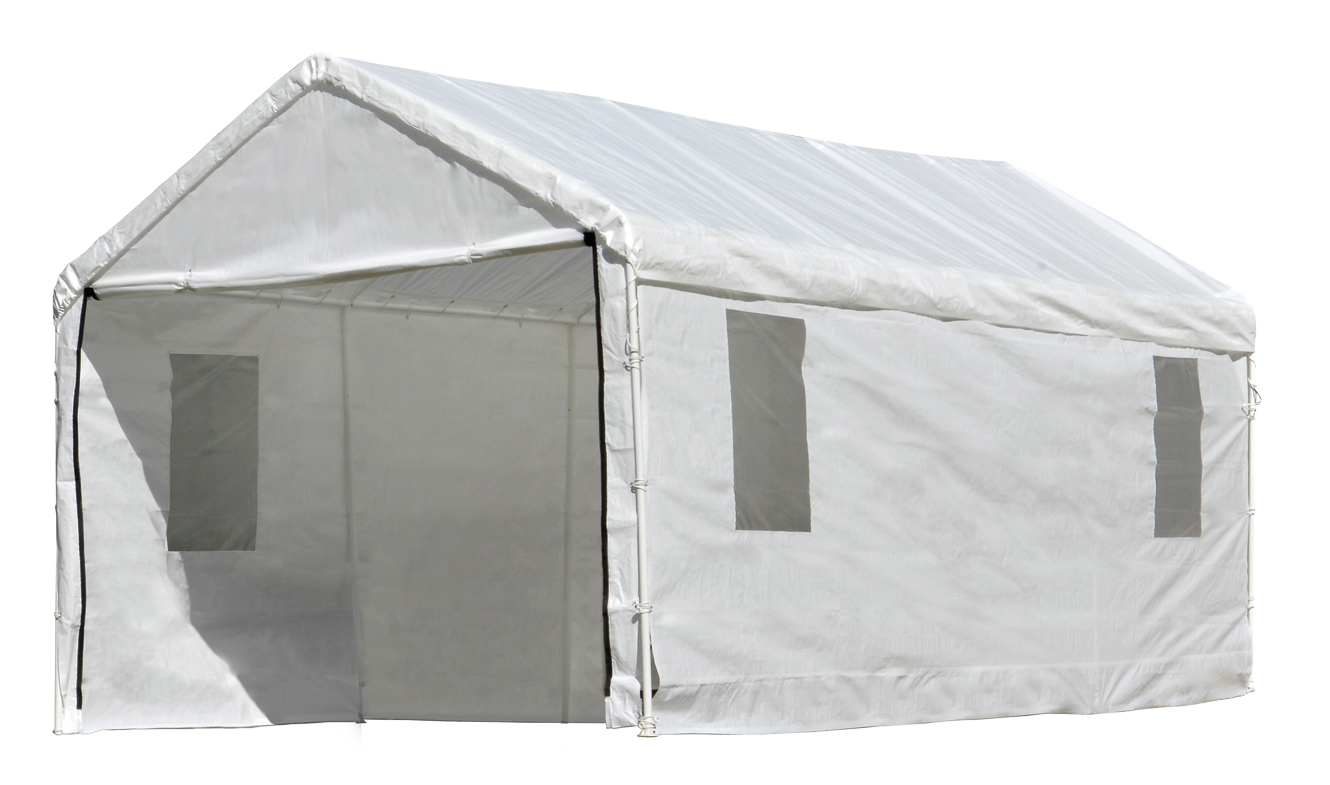 Canopy Enclosure Kit w/Windows, 10'x20', White, Fits 1-3/8