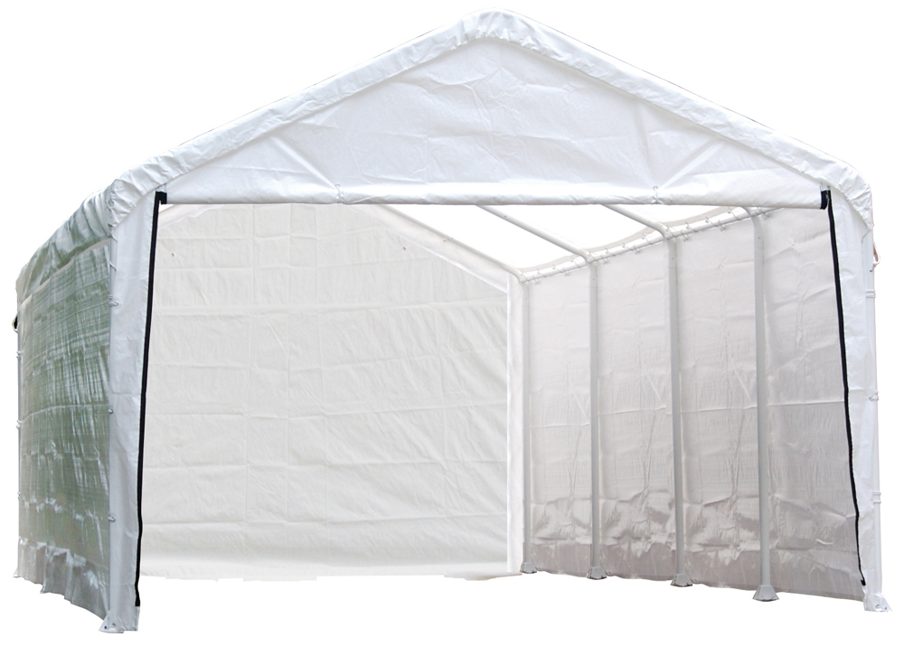 "Super Max 12ft. x 26ft. White Canopy Enclosure Kit Fits 2"" Frame - Frame and Canopy Sold Separately"