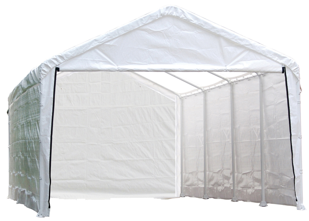 "Super Max 12 ft. x 30 ft. White Canopy Enclosure Kit Fits 2"" Frame - Frame and Canopy Sold Separately"
