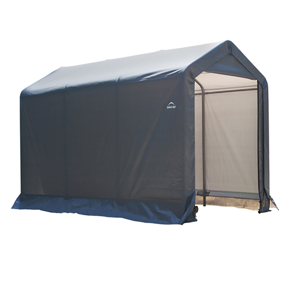 "6x10x6'6"" Peak Style Storage Shed, 1-3/8"" Frame, Grey Cover"