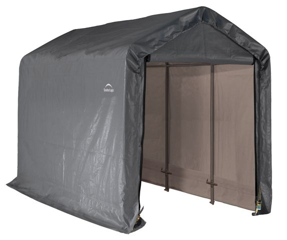 Peak Style Shed, 6'x12'x8', Grey Cover