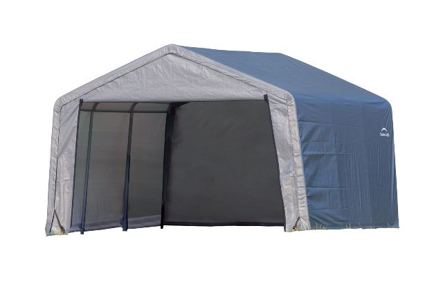 Peak Style Shed, 12'x12'x8', Grey Cover