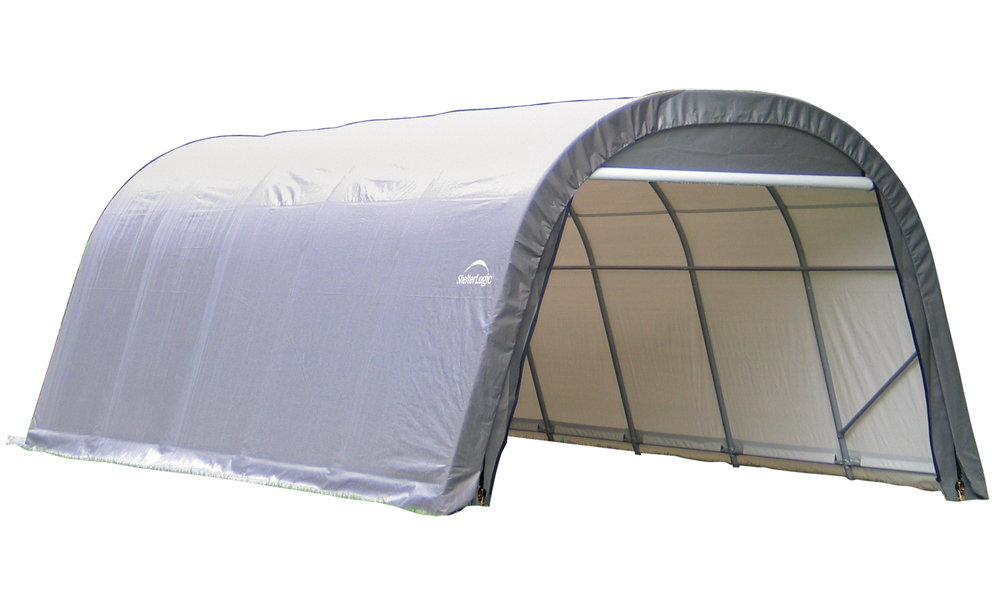 Round Style Shelter, 12'x20'x8', Grey Cover