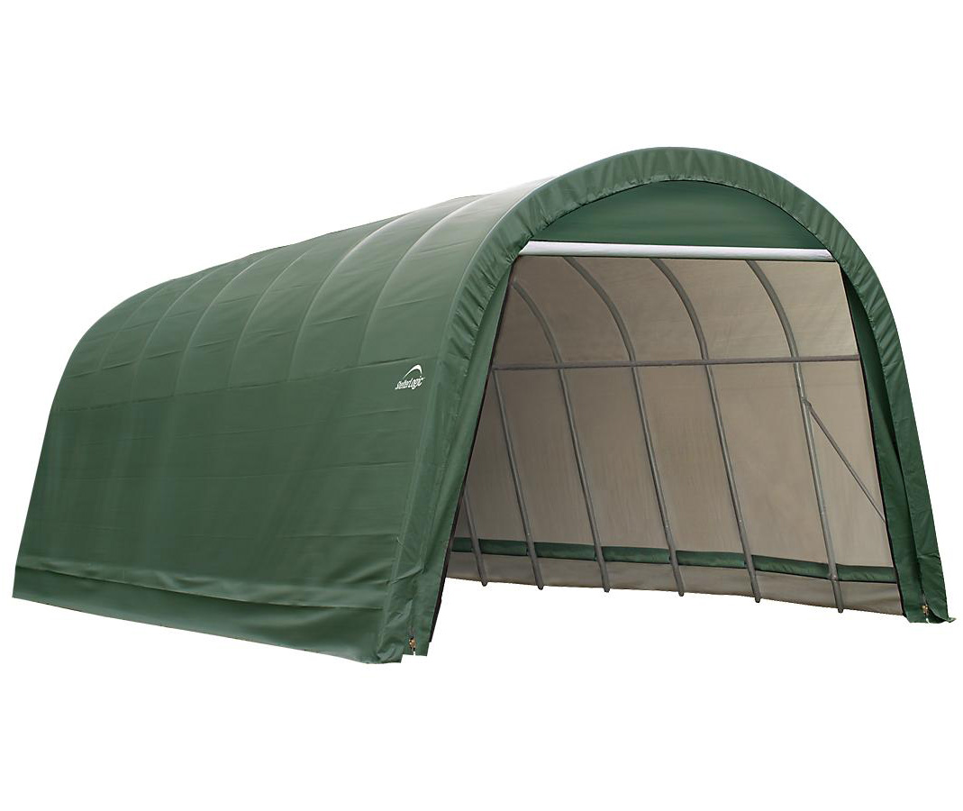 Round Style Shelter, 12'x20'x8', Green Cover